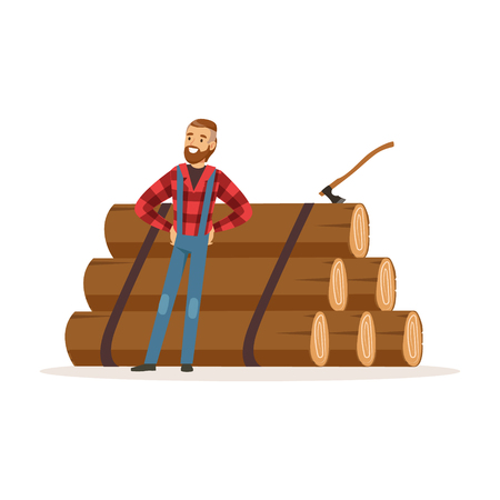 Smiling lumberjack man standing against pile of logs colorful character vector Illustration
