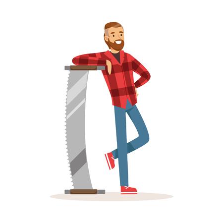철강 두 남자와 서 빨간 바둑판 무늬 셔츠에 등심 남자 웃 고 다채로운 문자 벡터 일러스트를 보았다.