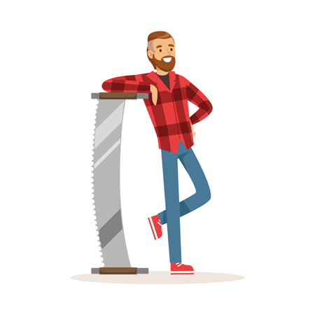 Smiling lumberjack man in a red checkered shirt standing with steel two man saw colorful character vector Illustration