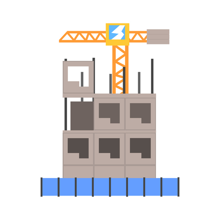 Process of construction of a multistory building vector Illustration