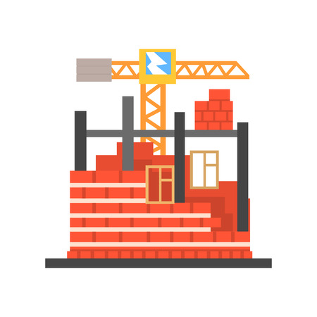 Process of building a brick house vector Illustration