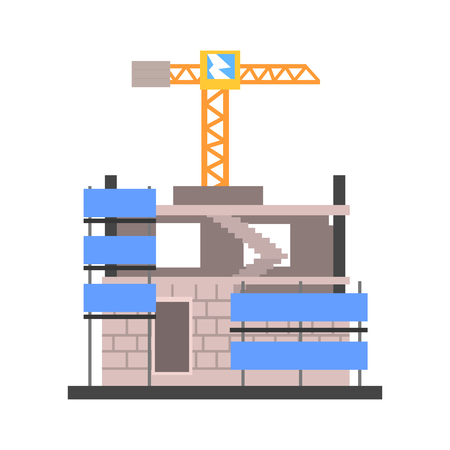 Construction of a modern building vector Illustration