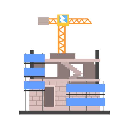 Construction of a modern building vector Illustration