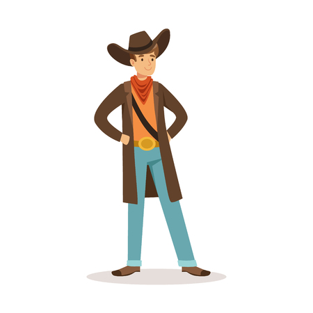 North American cowboy western cartoon character vector Illustration