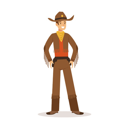 Cowboy in American traditional costume western cartoon character vector Illustration