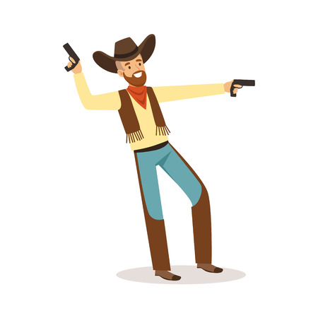 Bearded cowboy holding his guns western cartoon character vector Illustration