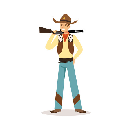 Man in American traditional costume with rifle western cartoon character vector Illustration