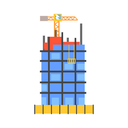 Construction of building from glass and concrete vector Illustration