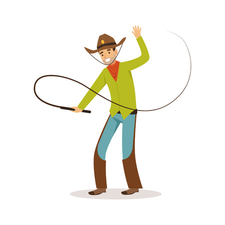 Man in American traditional costume with whip western cartoon character vector Illustration