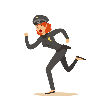 Police women officer running character vector Illustration Stock Vector - 79332422