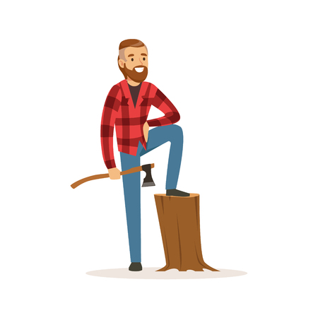 Smiling lumberjack holding an axe colorful character vector Illustration Illustration