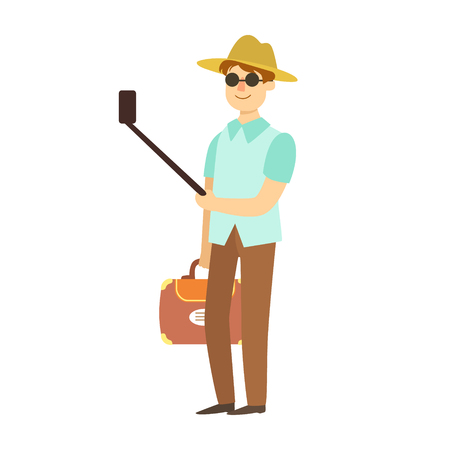 Young man with suitcase taking photos with smartphone and selfie stick. Colorful cartoon character isolated on a white background