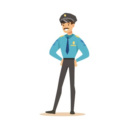 Smiling police officer standing character vector Illustration
