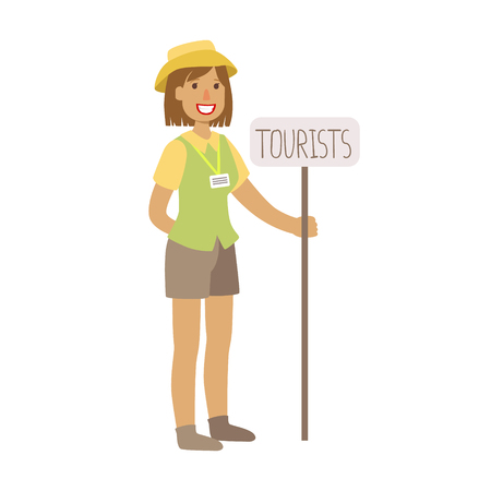 Tourist guide waiting for guests at the airoprt. Colorful cartoon character isolated on a white background