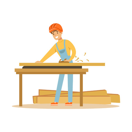 Young carpenter man working with wood in his workshop, professional wood jointer character vector Illustration Illustration