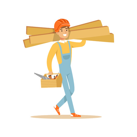 Smiling carpenter carrying box of tools and wooden planks, professional wood jointer character vector Illustration