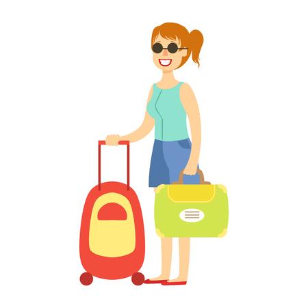 수하물로 여행하는 젊은 관광 여자. 다채로운 만화 캐릭터