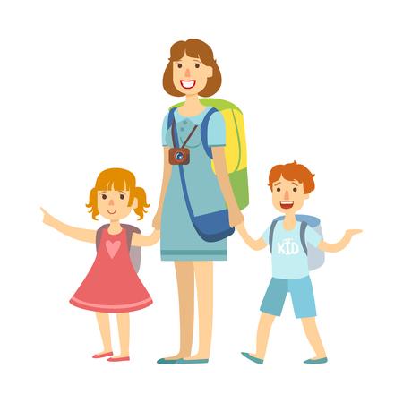 Mutter mit ihren Kindern, die Sommerferien anstreben. Bunte Zeichentrickfigur