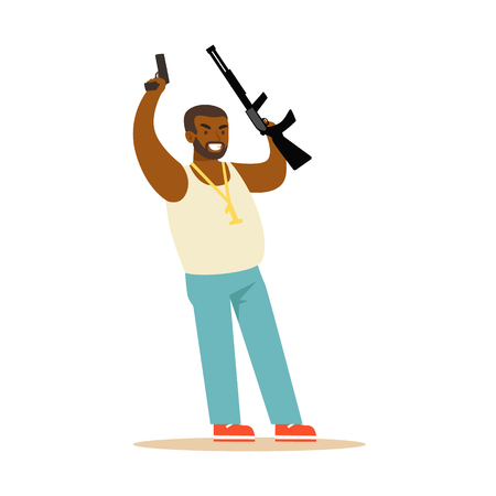 Black man raising his hands with guns to surrender, robbery colorful character vector Illustration