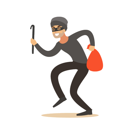Thief in a mask sneaking with a crowbar and a sack, robbery colorful character vector Illustration
