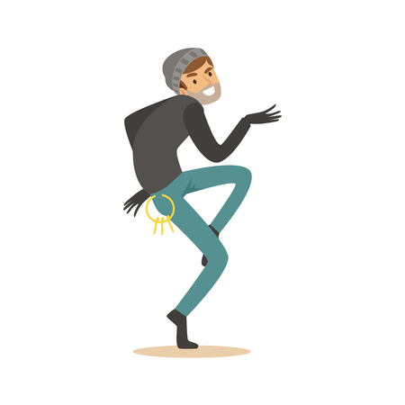 Sneaking thief, robbery colorful character vector Illustration