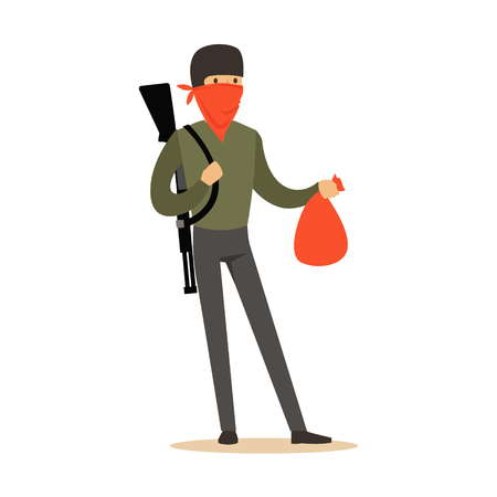 Masked robber with rifle on his shoulder carrying a bag, robbery colorful character vector Illustration