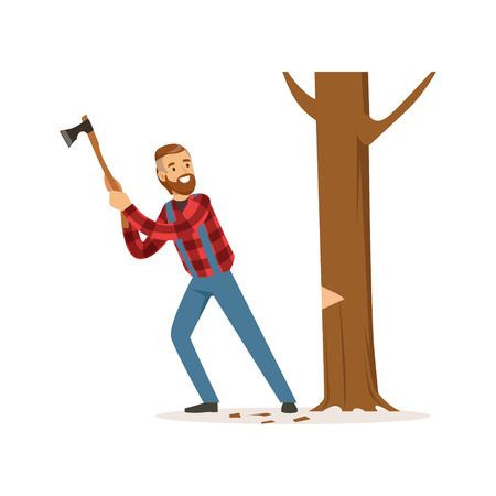 logging: Lumberjack man in a red checkered shirt cutting tree with an axe colorful character vector Illustration