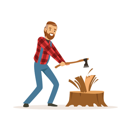 Lumberjack man in a red checkered shirt chopping wood with an axe colorful character vector Illustration