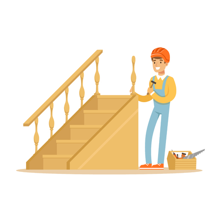 Carpenter building a wooden staircase, woodworker character vector Illustration 向量圖像