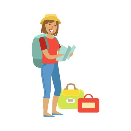 여행 가방 및 가방을 들고 서있는, 그녀의 손에있는지도 들고 여자. 다채로운 만화 캐릭터