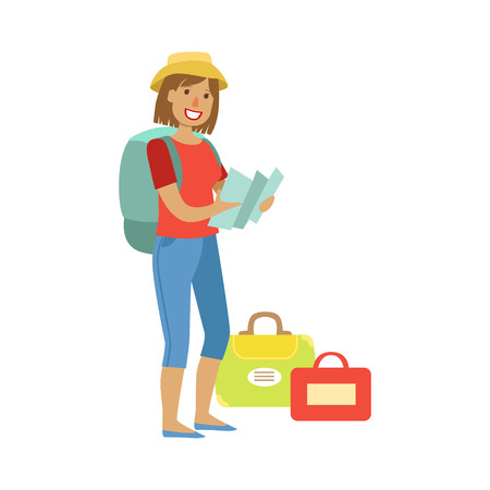 Woman standing with traveling backpack and bags, holding map in her hands. Colorful cartoon character