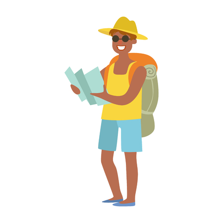 Cheerful man standing with traveling backpack and holding map in his hands. Colorful cartoon character isolated on a white background Illustration