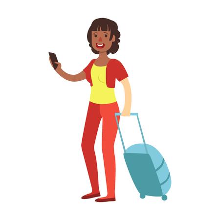 쾌활한 갈색 머리 여자 여행 가방 함께 서입니다. 다채로운 만화 캐릭터