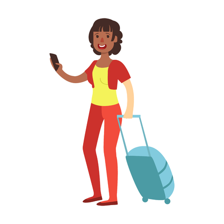 Cheerful brunette woman standing with travel suitcase. Colorful cartoon character