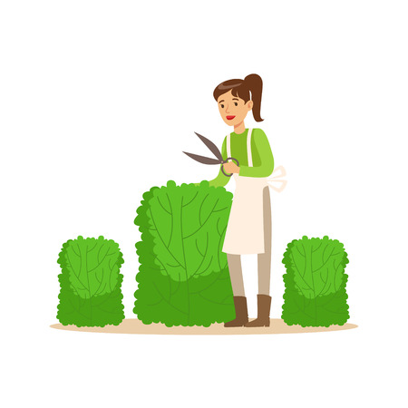 Young woman gardener working with hedge shear, craft hobby or profession colorful character vector Illustration