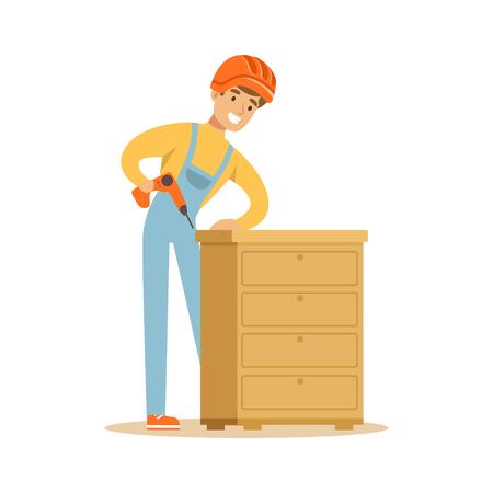 Jeune homme souriant charpentier bâtiment commode, vecteur de personnage de menuisier Illustration Banque d'images - 79332491