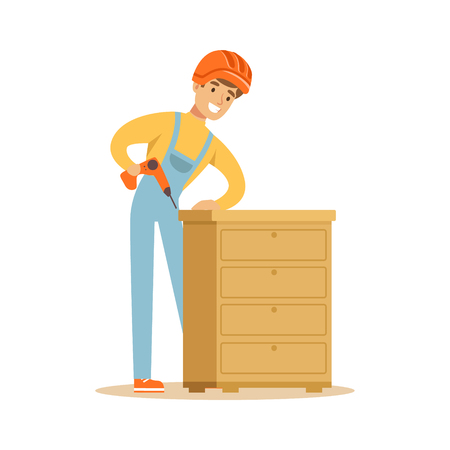 Young smiling carpenter man building chest of drawers, woodworker character vector Illustration