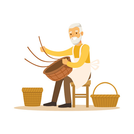 Senior man weaving baskets, craft hobby or profession colorful character vector Illustration Vettoriali