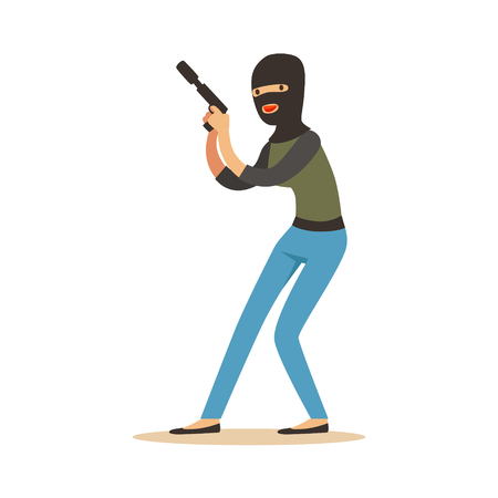 Thief in a black balaclava holding gun, robbery colorful character vector Illustration