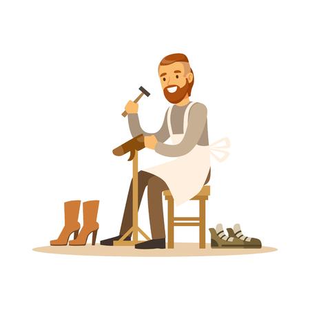 Shoemaker mending a shoe in workshop colorful character vector Illustration