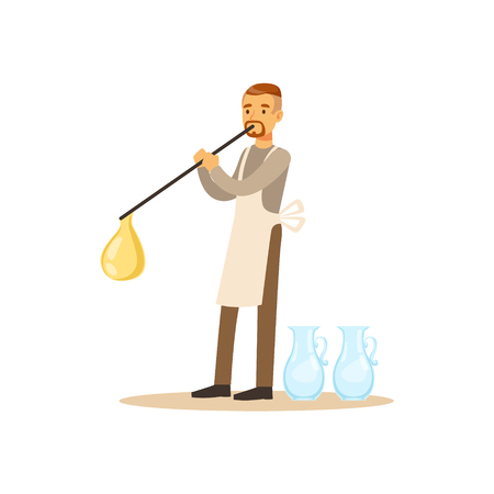 Man blowing glass vessel, glass blower craft hobby or profession colorful character vector Illustration