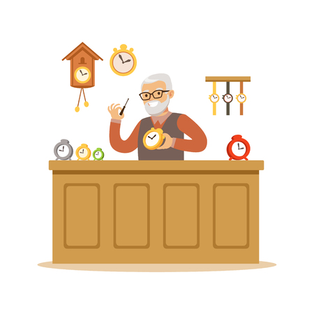 Bearded senior man repairing watches, watchmaker craft hobby or profession colorful character vector Illustration Illustration