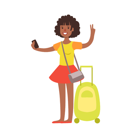 Woman standing with travel suitcase. Colorful cartoon character