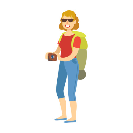 Cheerful woman standing with traveling backpack and holding camera in her hands. Colorful cartoon character Ilustrace