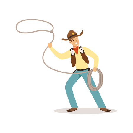 Man in American traditional costume with lasso western cartoon character vector Illustration