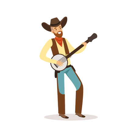 Smiling cowboy playing banjo western cartoon character vector Illustration