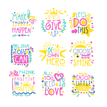 Short possitive messages colorful hand drawn vector Illustrations