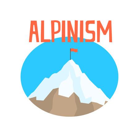 alpinism: Alpinism badge, peak mountain label colorful vector Illustration