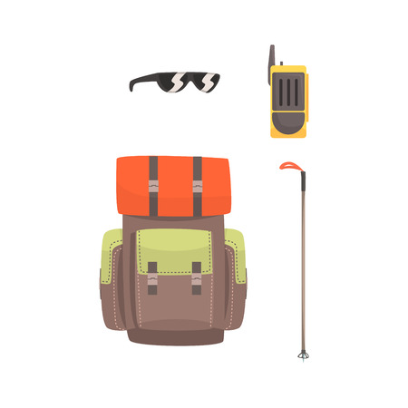 Tourist hiking backpack, sunglasses, radio and ski pole, mountaineering equipment vector Illustration isolated on a white background