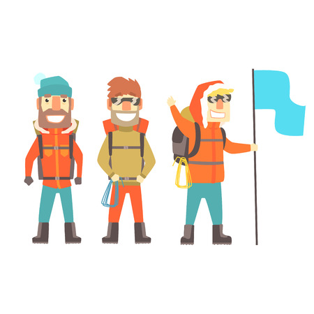 Three mountain climbers with mountain climbing equipment, colorful characters vector Illustration isolated on a white background Çizim